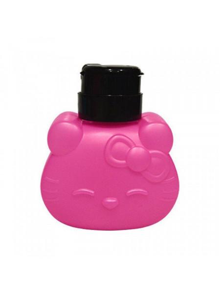 Дозатор пластиковый для жидкостей 250 мл. KITTY с помпой (Тёмно-розовый)