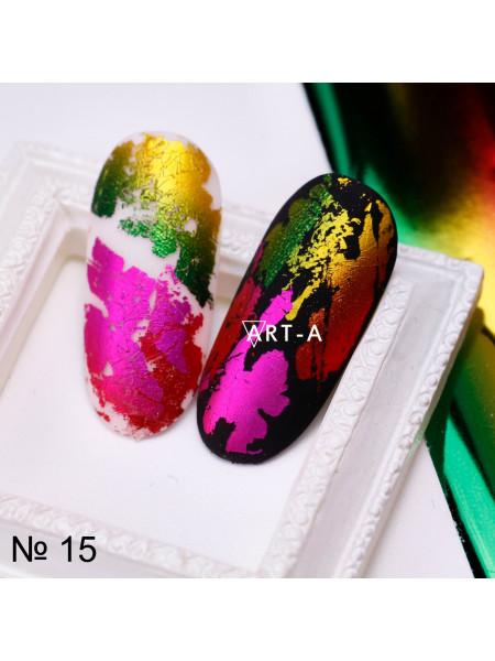 Фольга для дизайна ногтей красно-желтая №15