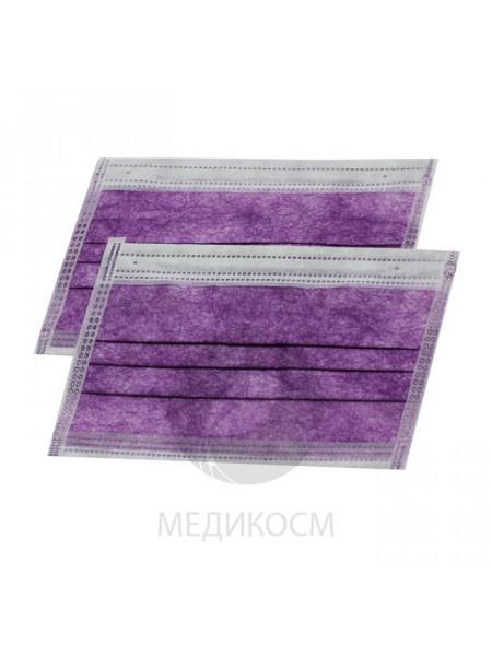 Маска 3-х слойная в коробке, фиолетовая, 50 шт. (фильтр - мелтблаун)